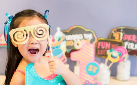 1st birthday photo booth props decorations