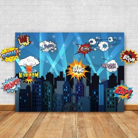 Superhero backdrop props birthday decorations