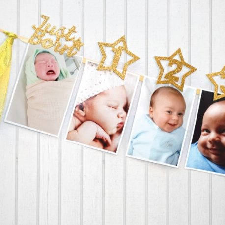 Monthly Milestone Photo banner for Newborn to 12 months for 1 Year old Celebration, 1-12 month Star Photography Garland