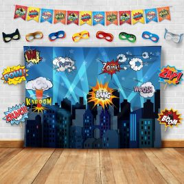 Superhero Cityscape Photography Backdrop, Studio Props, Flags and Mask DIY Kit