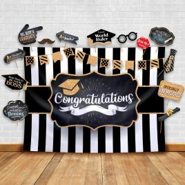 Graduation Party Backdrop – Classy Black, White and Gold Theme Backdrop and Studio Props
