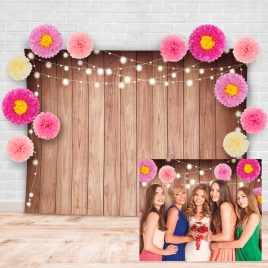 Rustic Floral Theme Soft Fabric Wood Photography Backdrop with Pink Flowers Studio Props Kit
