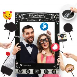 Insta-Themed Social Media Party Photo Booth Frame with Emoji & Speech Bubble