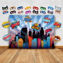 Superheroes Cityscape Photography Backdrop, Studio Props & Mask. Great as Super Hero City Photo Booth Background – Girl Birthday Party & Event Decorations